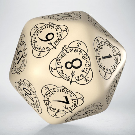 D20 Level Counter Beige & black Die