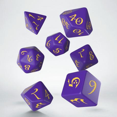 Kości RPG Klasyczne Fioletowo-żółte (7)