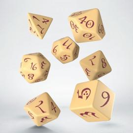 Kości RPG Klasyczne Beżowo-bordowe (7)