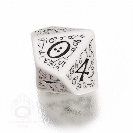 D100 Elvish White & black Die (1)
