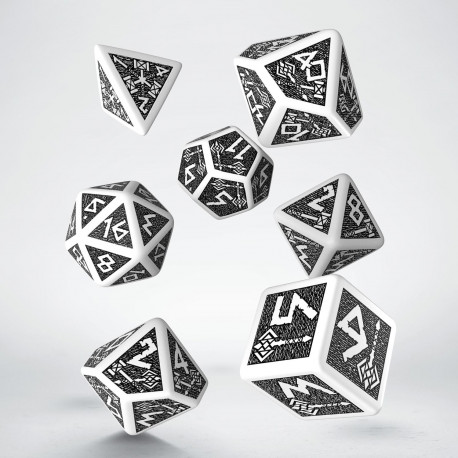 Dwarven White & black Dice Set (7) old