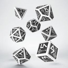 Dwarven White & black Dice Set (7) VINTAGE