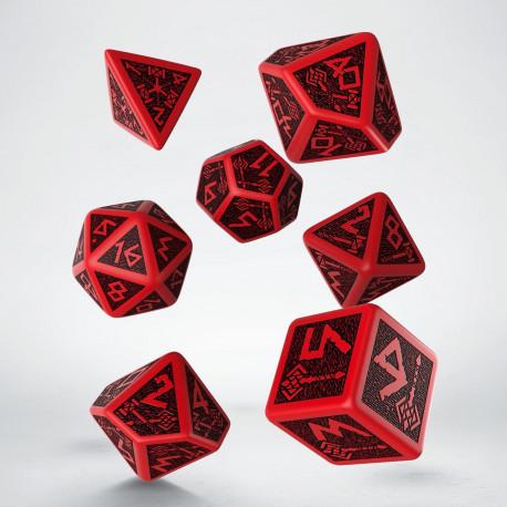 Kości RPG Krasnoludzkie Czerwono-czarne stare