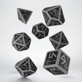 Dwarven Gray & black Dice Set (7) VINTAGE