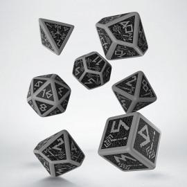 Dwarven Gray & black Dice Set (7) VINTAGE