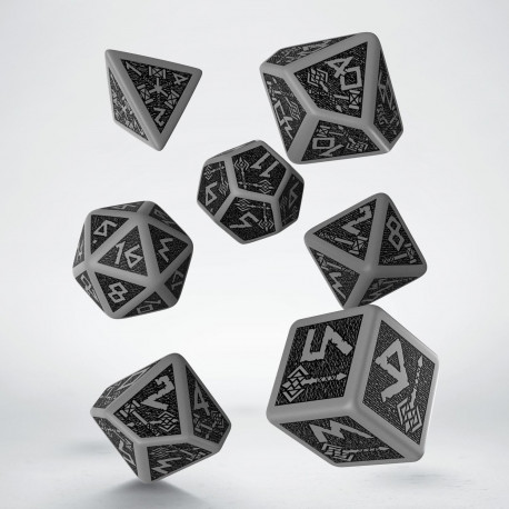 Dwarven Gray & black Dice Set (7) old