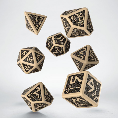 Dwarven Beige & black Dice Set (7) old
