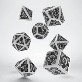 Celtic White & black Dice Set (7) VINTAGE