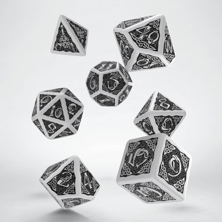 Celtic White & black Dice Set (7) (Old design)