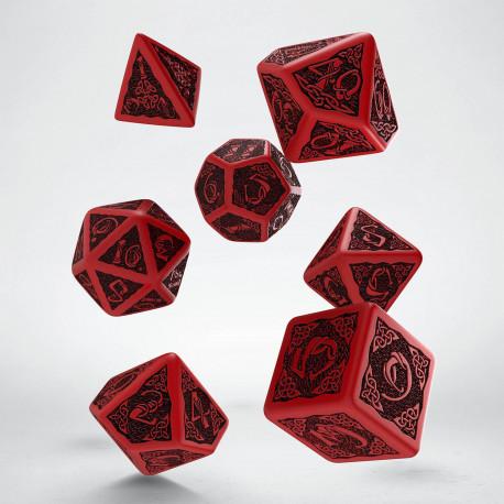 Celtic Revised Red & black Dice Set (7) old
