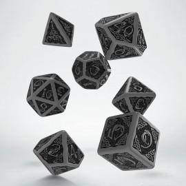Kości RPG Celtyckie Szaro-czarne stare
