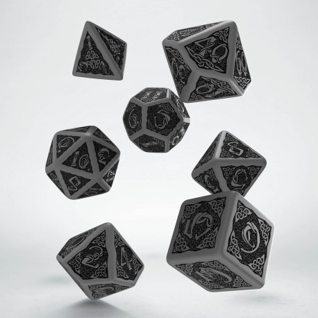 Celtic Revised Gray & black Dice Set (7) old