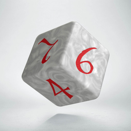 D6 Classic Die Pearl & red