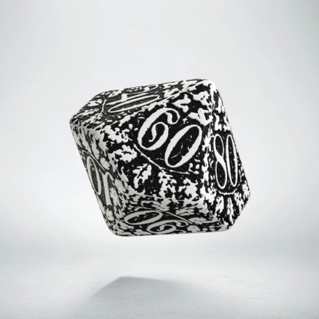 D100 Forest White & black Die (1)