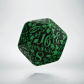 D20 Forest Green-black die