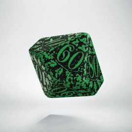 D100 Forest Green-black die