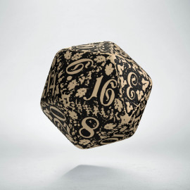 D20 Forest Beige-black die