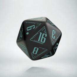 D20 Galactic Black & blue Die (1)