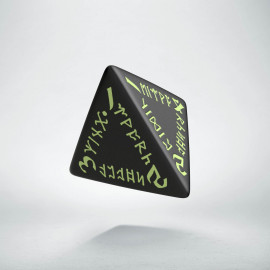 D4 Runic Black - glow in the dark die