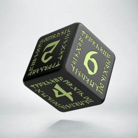 D6 Runic Die Black & glow-in-the-dark
