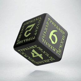 D6 Runic Black - glow in the dark die