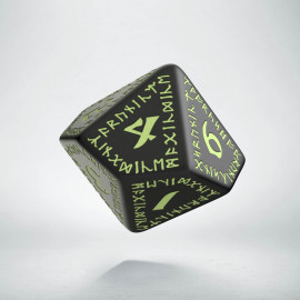 D10 Runic Black - glow in the dark die