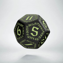 D12 Runic Black - glow in the dark die