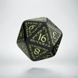 D20 Runic Black - glow in the dark die