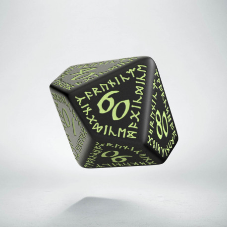 D100 Runic Black - glow in the dark die