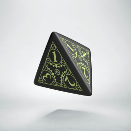 D4 Steampunk Black - glow in the dark die