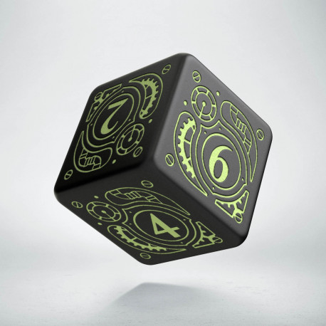 D6 Steampunk Black - glow in the dark die