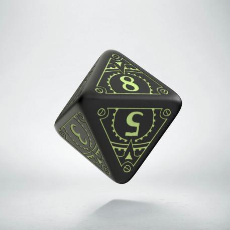 D8 Steampunk Black - glow in the dark die