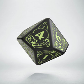 D10 Steampunk Black - glow in the dark die