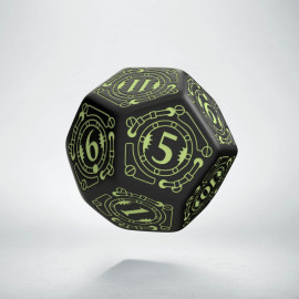 D12 Steampunk Black & glow in the dark Die (1)