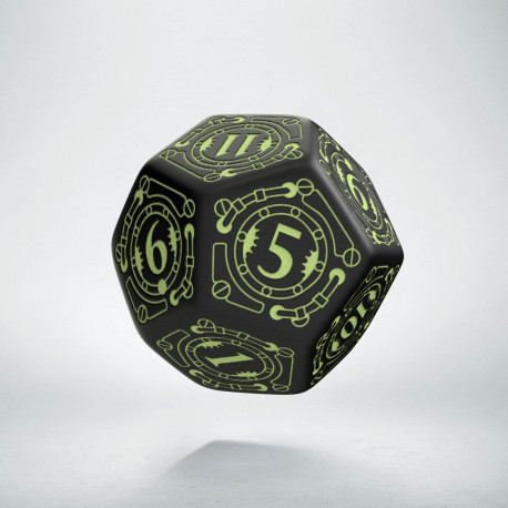 D12 Steampunk Black - glow in the dark die