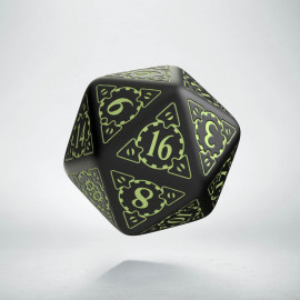 D20 Steampunk Black - glow in the dark die