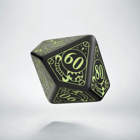 D100 Steampunk Black - glow in the dark die
