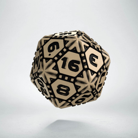 D20 Tech Dice Beige - black die