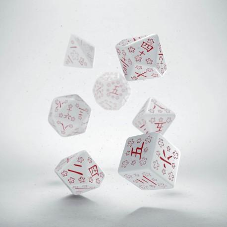 Kanji White & red Dice Set (7)