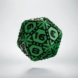 D20 Tech Green & black Die (1)