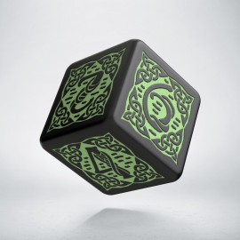 D6 Celtic 3D Revised Black & Green Die