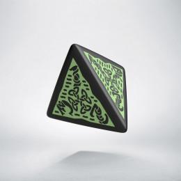 D4 Celtic 3D Revised Black & Green Die