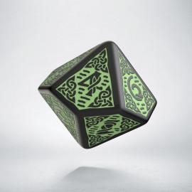 D10 Celtic 3D Revised Black & Green Die