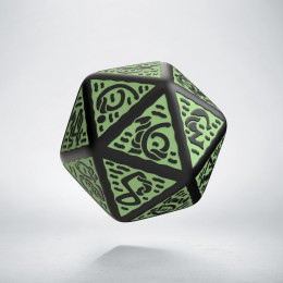 D20 Celtic 3D Revised Black & Green Die