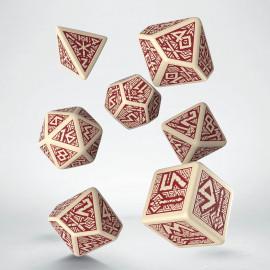 Kości RPG Krasnoludzkie Beżowo-bordowe (7)