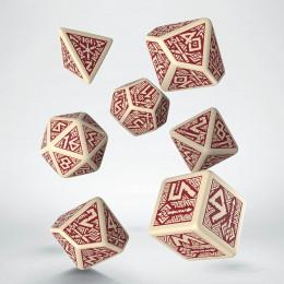 Kości RPG Krasnoludzkie Beżowo - bordowe (7)