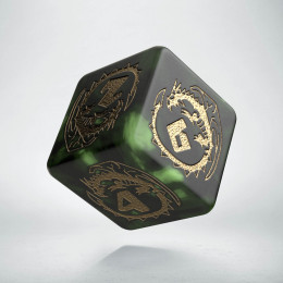 D6 Dragons Bottle green & gold Die (1)