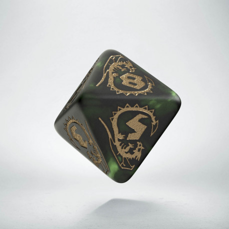 D8 Dragons Bottle green & gold Die (1)