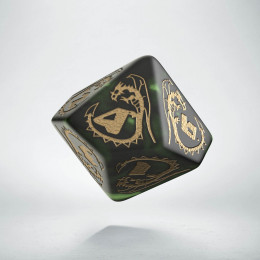 D10 Dragons Bottle green & gold Die (1)