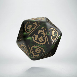 D20 Dragons Bottle green & gold Die (1)
